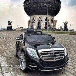 Электромобиль Mercedes Benz S600 черный (усиленный аккумулятор, резина, кожа, пульт, музыка)