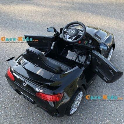 Электромобиль Mercedes-Benz GTR AMG черный (колеса резина, кресло кожа, пульт, музыка)
